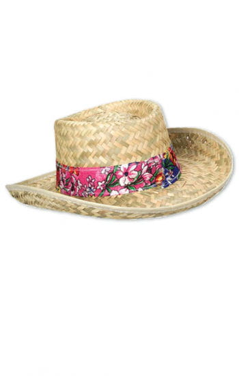 Straw Hat With Flower Ribbon