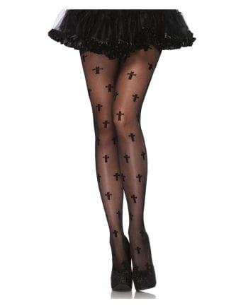 Fine tights with crosses