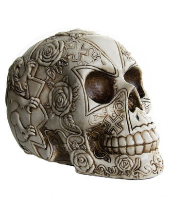 Skull with rose pattern