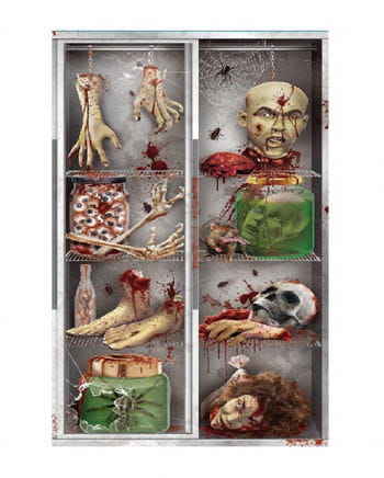 Halloween Türfolie - Körperteile im Kühlschrank