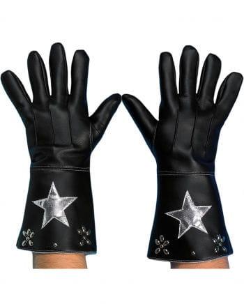 Cowboy Handschuhe schwarz-silber