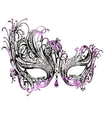 Verschnörkelte Augenmaske mit Strass violett/schwarz