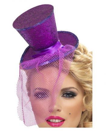 Mini Zylinder violett mit Netz