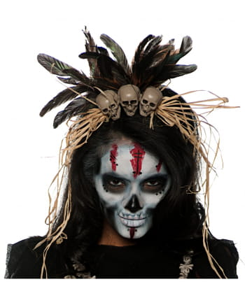 Voodoo Kopfschmuck mit Totenköpfen