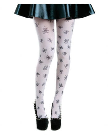 Tights With Skulls White / Black