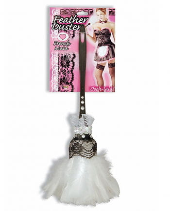 White Feather Duster With Feathers & Lace