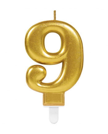 Number Candle 9 Metallic Gold