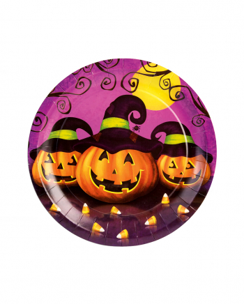 Halloween Party Plate With Pumpkin & Hat 8 Pcs.