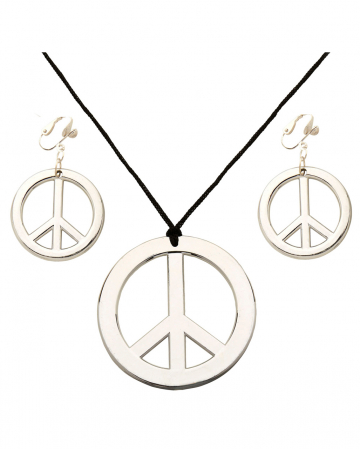 Hippie Peace Halskette & Ohrringe
