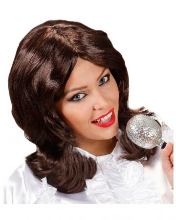 70s Popstar Ladies Wig Brown
