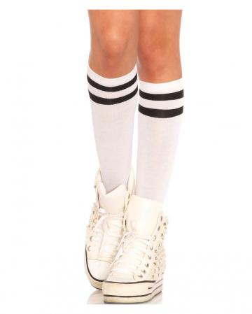 Athletic Ribbed Kniestrümpfe weiß-schwarz