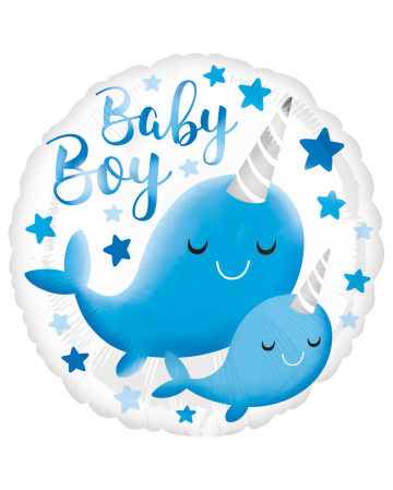 Baby Boy Narwal Foil Balloon Blue