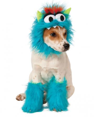 Plush monster dog costume blue