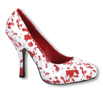 Pumps with blood spatters