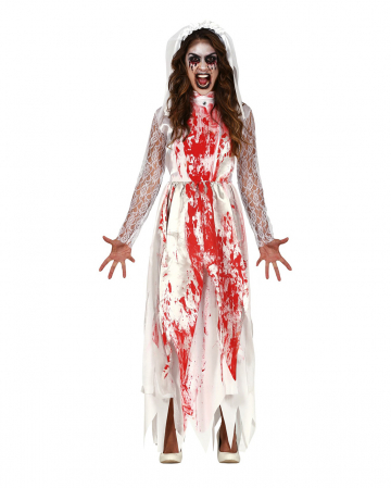 Bloody Killer Bride Costume With Veil