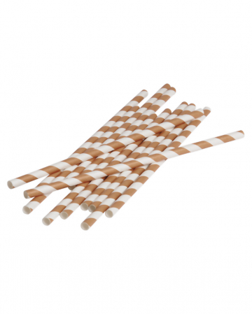 12 Paper Straws Brown White