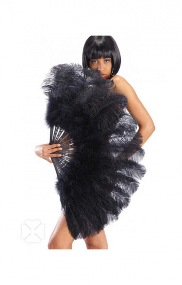 Burlesque Fan with Black Feathers XXL