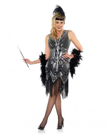 Charleston Ladies Costume With Glitter Black
