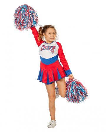Cheerleader Kinder Kostüm rot-blau