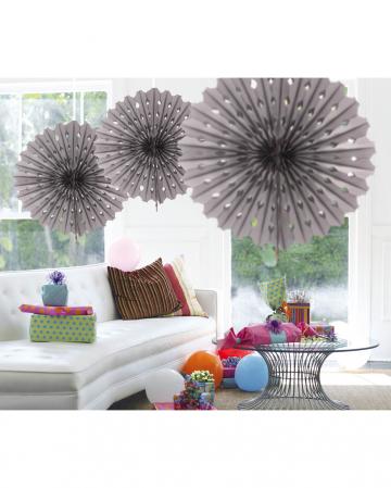 Decorative Fan Honeycomb Paper Silver 45cm