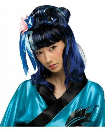 Dragon Lady Wig Black-blue