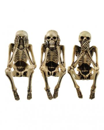 Three Wise Skeleton Figures 10cm