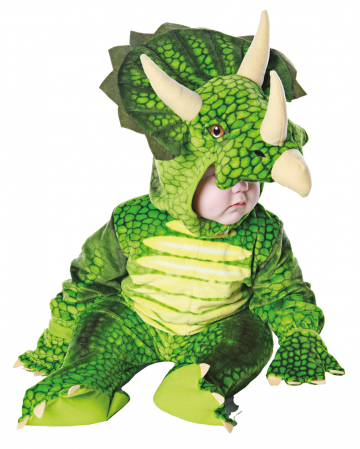 Three Horn Dino Toddler Costume Green