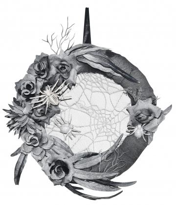 Elegant Halloween Door Wreath With Spiders & Roses