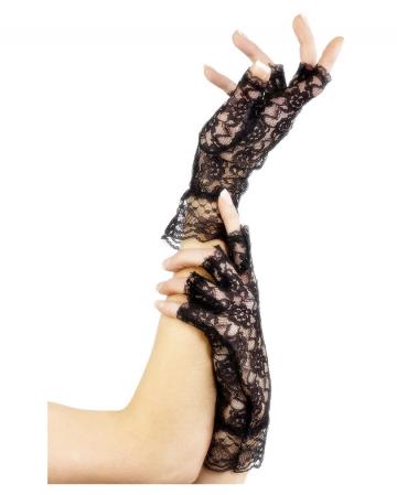 Fingerless short lace gloves black