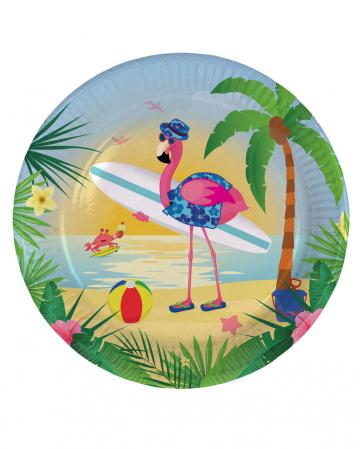 Flamingo paper plates 8 pieces