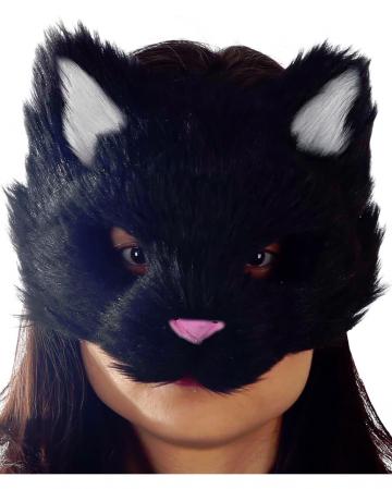 Flauschige Katzenmaske schwarz
