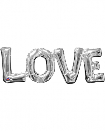 Foil Balloon Lettering Love Silver