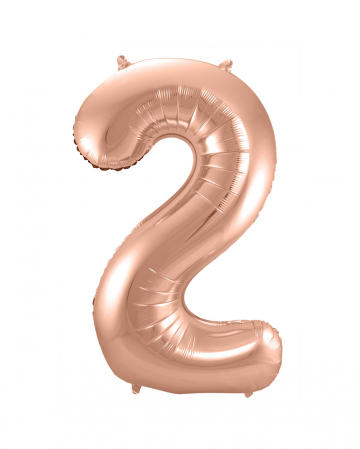 Foil Balloon Number 2 Rose Gold
