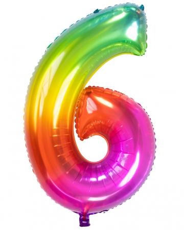 Folienballon Zahl 6 Regenbogen