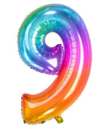 Folienballon Zahl 9 Regenbogen