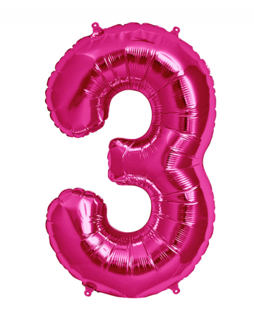 Foil Balloon Number 3 Pink