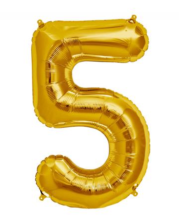 Folienballon Zahl 5 Gold