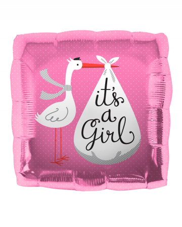 Foil Balloon Stork - It's a Girl -