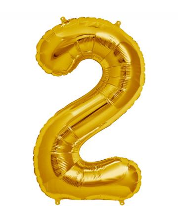 Folienballon Zahl 2 Gold
