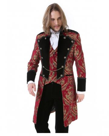 Gothic Aristocrat Men Coat Gold Red