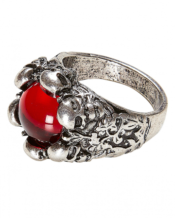 Gothic Ring With Stone And Skull