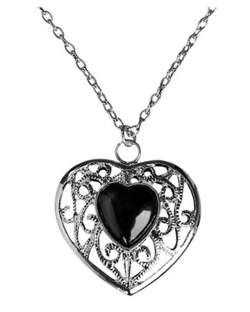 Halskette mit schwarzem Herz-Anhänger
