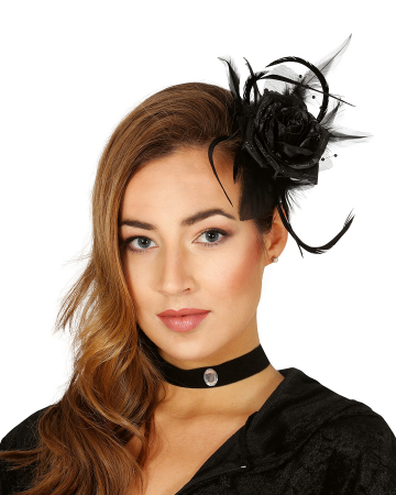 Hair Clip With Black Rose And Feathers