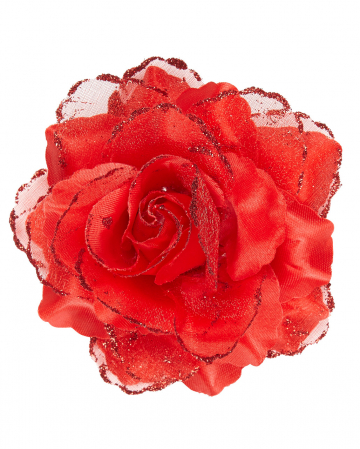 Barrette Red Glitter Rose