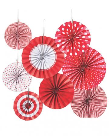 Hanging Decoration Fan Set Red White 8pcs.