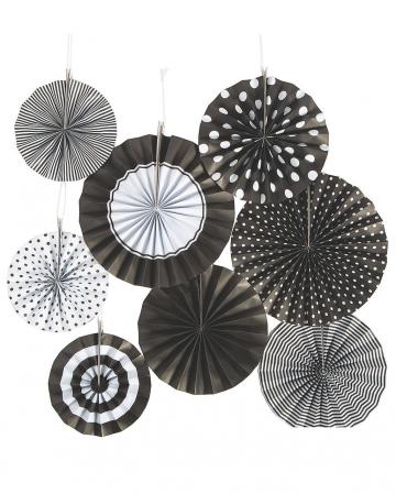 Hanging Deco Fan Set Black White 8pcs.