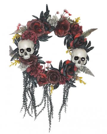Halloween Door Wreath With Faded Roses & Skulls