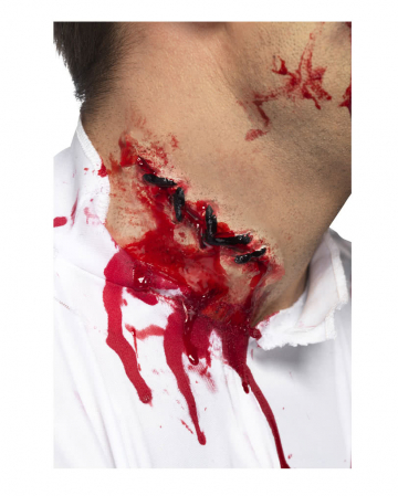 Halloween wound freshly sewn