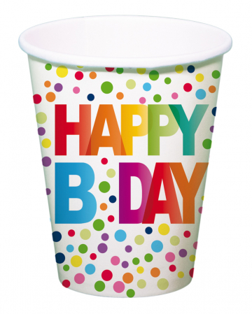 Happy B-Day Paper Cup 8 Pieces