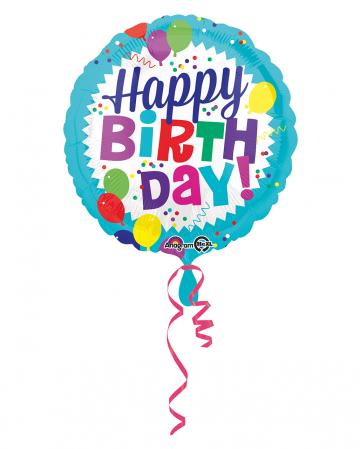 Happy Birthday Foil Balloon Coloured 43cm